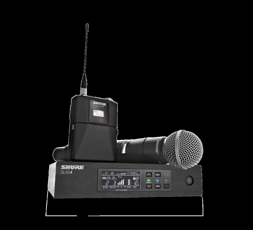 SHURE QLXD Funksystem bestehend aus Empfänger, Hand- und Taschensender