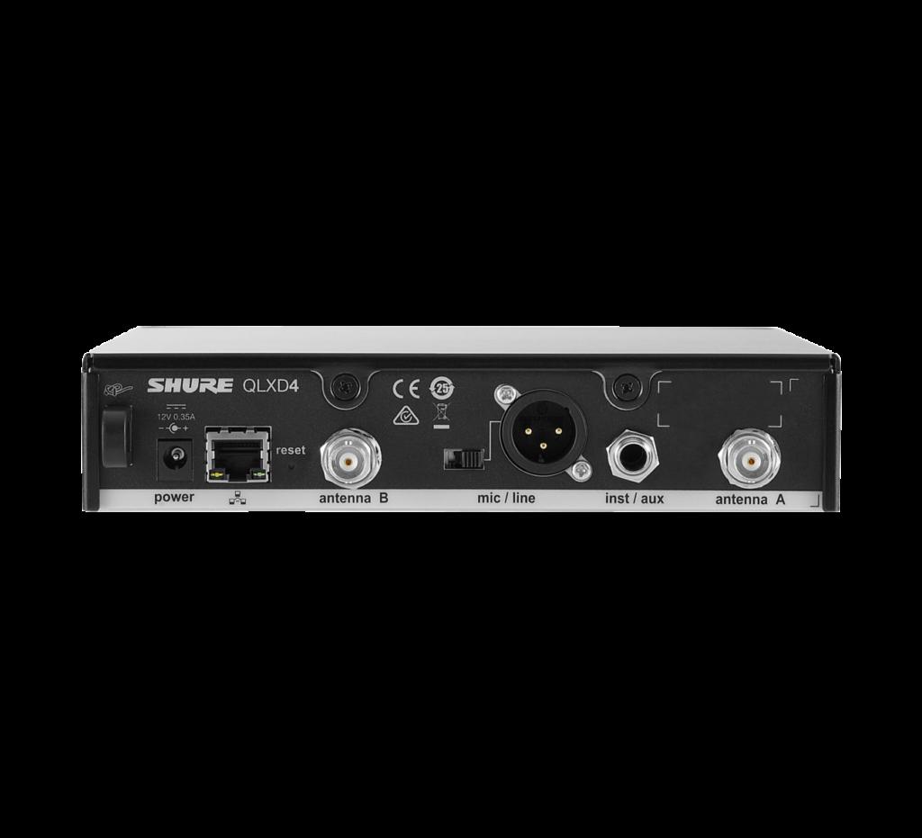 SHURE QLXD4 Funkempfänger, Produktansicht von hinten